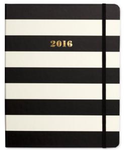 $30 Kate Spade New York 2016 Medium Agenda Spiral 17 Month, Black Stripe