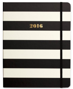 $30 Kate Spade New York 2016 Medium Agenda Spiral 17 Month, Black Stripe
