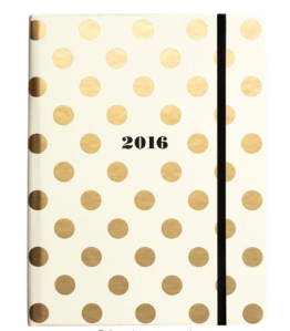 $30 Kate Spade New York 2016 Medium 17 Month Spiral Agenda, Gold Dots