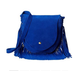 Gabrielle Rocha Saddle Bag with Fringe in Royal Blue $48.99
