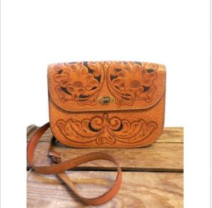 Tan Tooled Floral Leather Saddle Bag $18.99