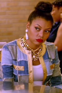 Empire_Taraji_P._Henson_aka_Cookie_Lyon_in_15_Moschino_rd_nk_gold_dtl_patch_dnm_jkt_hvy_gold_nklss_pearl_pendnt_